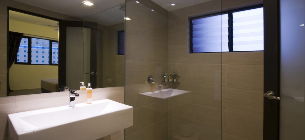 En-suite bathroom with heated shower