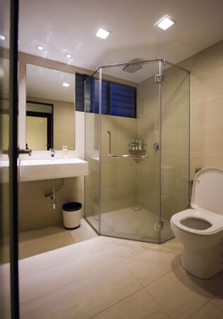 Second bathroom with heated shower, twin-flush soft close toilet
