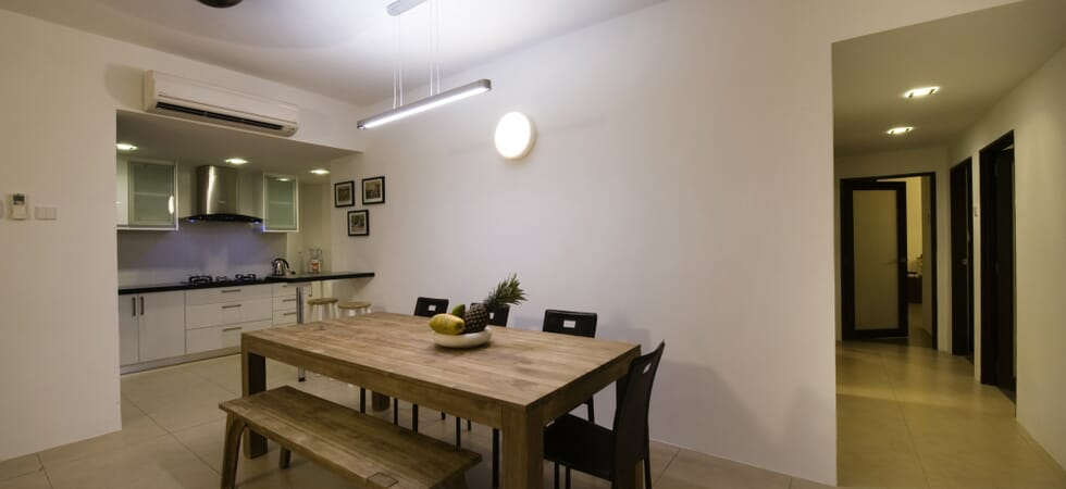 Open plan living with solid teak dining table (FSA approved)